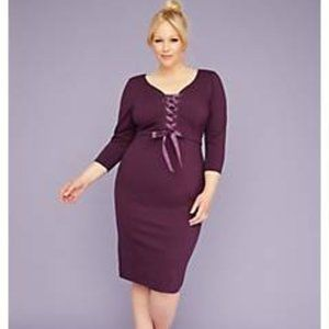 3/4-Sleeve Corset Sheath Dress